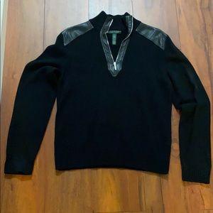 Ladies XL Ralph Lauren leather trimmed sweater